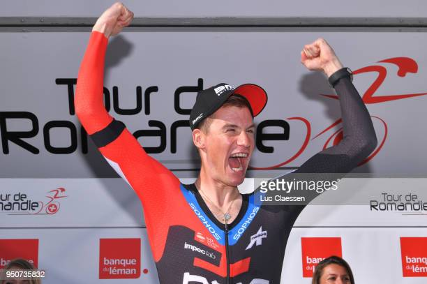 Podium / Tom Bohli of Swiss and Team BMC Racing Team / Celebration / during the 72nd Tour de Romandie 2018 Prologue a 4km individual time trial stage...