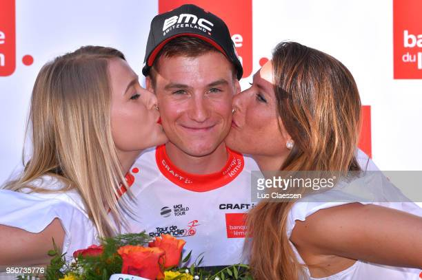 Podium / Tom Bohli of Swiss and Team BMC Racing Team / White best young rider jersey Celebration / during the 72nd Tour de Romandie 2018 Prologue a...