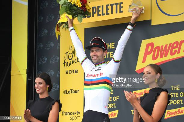 Podium / Tom Dumoulin of The Netherlands and Team Sunweb / Celebration / during the 105th Tour de France 2018, Stage 20 a 31km Individual Time Trial...