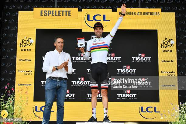 Podium / Tom Dumoulin of The Netherlands and Team Sunweb / Celebration / Miguel Indurain of Spain ex-cyclist / during the 105th Tour de France 2018,...