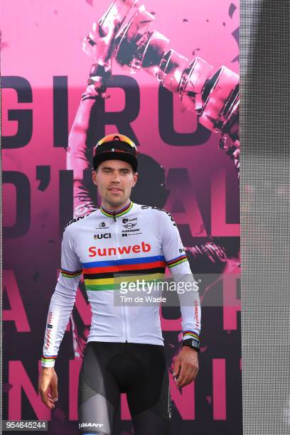 Podium / Tom Dumoulin of The Netherlands and Team Sunweb / Celebration / during the 101th Tour of Italy 2018 Stage 1 a 97km Individual Time Trial...