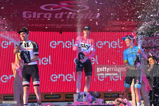 Podium / Tom Dumoulin of The Netherlands and Team Sunweb / Christopher Froome of Great Britain Pink Leader Jersey / Miguel Angel Lopez of Colombia...