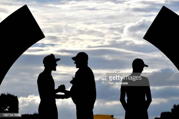 Podium / Tom Dumoulin of The Netherlands and Team Sunweb / Geraint Thomas of Great Britain and Team Sky Yellow Leader Jersey / Christopher Froome of...