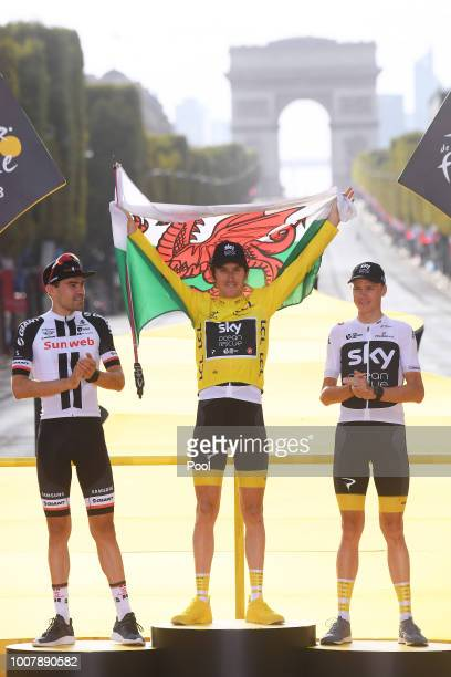 Podium / Tom Dumoulin of The Netherlands and Team Sunweb / Geraint Thomas of Great Britain and Team Sky Yellow Leader Jersey /Celebration /...