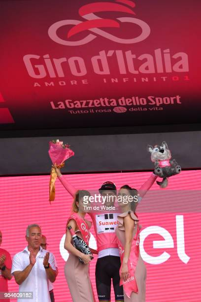 Podium / Tom Dumoulin of The Netherlands and Team Sunweb Pink Leader Jersey / Celebration / during the 101th Tour of Italy 2018, Stage 1 a 9,7km...