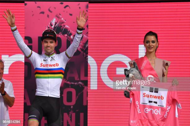 Podium / Tom Dumoulin of The Netherlands and Team Sunweb Pink Leader Jersey / Celebration / during the 101th Tour of Italy 2018 Stage 1 a 97km...