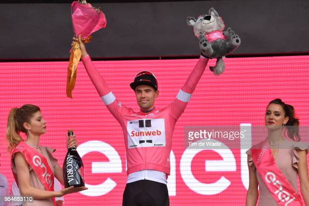 Podium / Tom Dumoulin of The Netherlands and Team Sunweb Pink Leader Jersey / Celebration / Champagne / during the 101th Tour of Italy 2018, Stage 1...