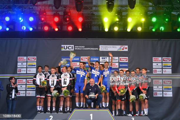 Podium / Tom Dumoulin of The Netherlands / Chad Haga of The United States / Wilco Kelderman of The Netherlands / Soren Kragh Andersen of Denmark /...