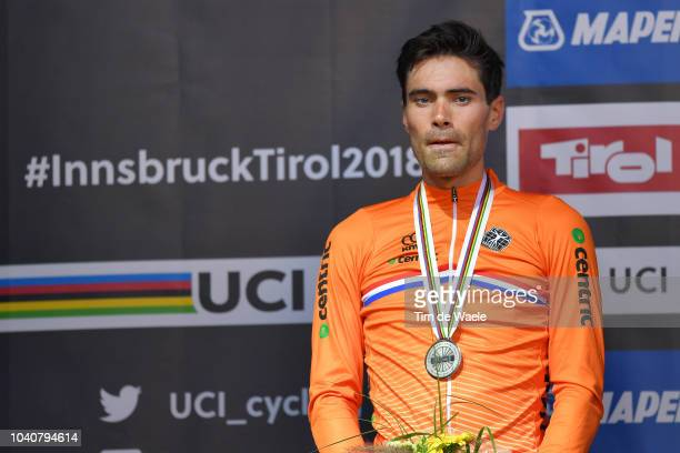 Podium / Tom Dumoulin of The Netherlands Silver Medal / Celebration / during the Men Elite Individual Time Trial a 52,5km race from Rattenberg to...
