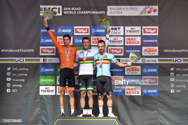 Podium / Tom Dumoulin of The Netherlands Silver Medal / Rohan Dennis of Australia Gold Medal / Victor Campenaerts of Belgium Bronze Medal /...