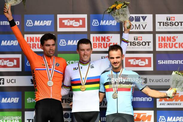 Podium / Tom Dumoulin of The Netherlands Silver Medal / Rohan Dennis of Australia Gold Medal / Victor Campenaerts of Belgium Bronze Medal /...