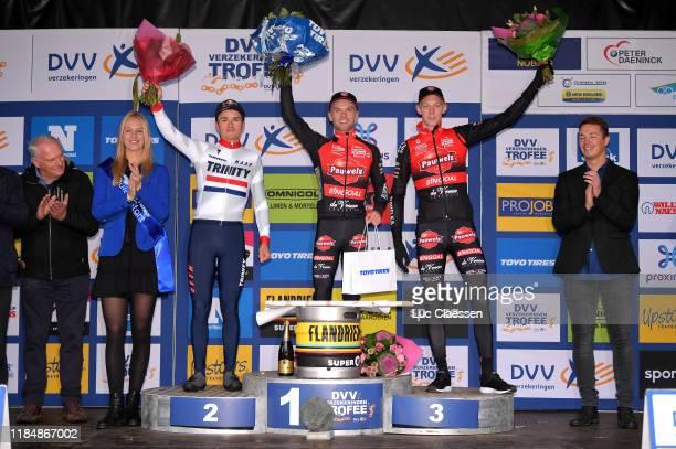 Podium / Tom Pidcock of United Kingdom and Team TP Racing / Eli Iserbyt of Belgium and Team Pauwel Sauzen - Bingoal / Michael Vanthourenhout of...