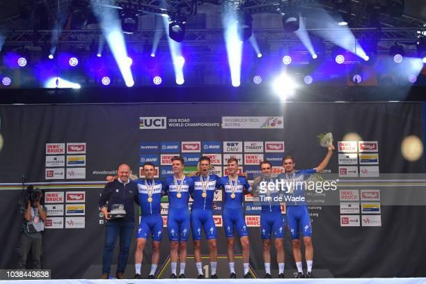 Podium / Tom Steels of Belgium QS Sport Director / Kasper Asgreen of Denmark / Laurens De Plus of Belgium / Bob Jungels of Luxembourg / Yves Lampaert...