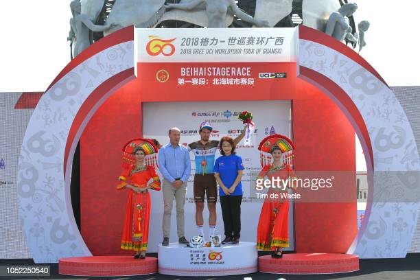 Podium / Tom van Damme of Belgium UCI President Road Commission - President Belgian Cycling Federation / Silvan Dillier of Switzerland and Team Ag2R...