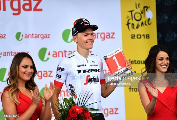 Podium / Toms Skujins of Latvia and Team Trek Segafredo Most Combative Rider Celebration / during the 105th Tour de France 2018, Stage 5 a 204,5km...