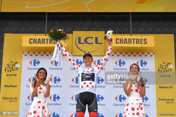 Podium / Toms Skujins of Latvia and Team Trek Segafredo Polka Dot Mountain Jersey Celebration / during the 105th Tour de France 2018, Stage 7 a 231km...