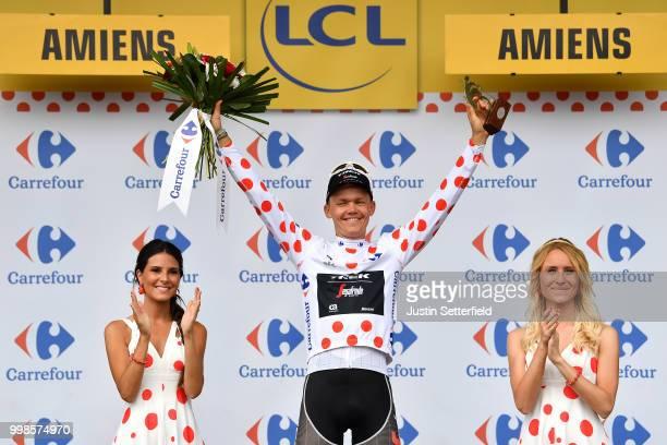 Podium / Toms Skujins of Latvia and Team Trek Segafredo Polka Dot Mountain Jersey Celebration / during the 105th Tour de France 2018, Stage 8 a 181km...