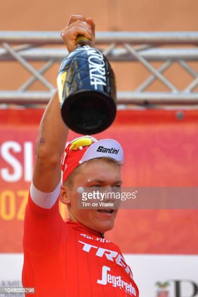 Podium / Toms Skujins of Latvia and Team Trek-Segafredo / Celebration / Champagne /during the 98th Tre Valli Varesine 2018 a 197km race from Saronno...