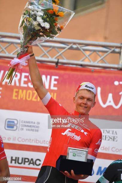 Podium / Toms Skujins of Latvia and Team Trek-Segafredo / Celebration / during the 98th Tre Valli Varesine 2018 a 197km race from Saronno to Varese...