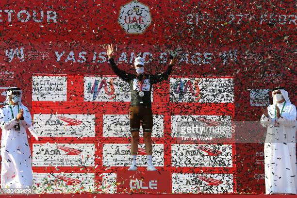 Podium / Tony Gallopin of France and AG2R Citroën Team Black Intermediate Sprint Jersey Celebration, during the 3rd UAE Tour 2021, Stage 7 a 147km...