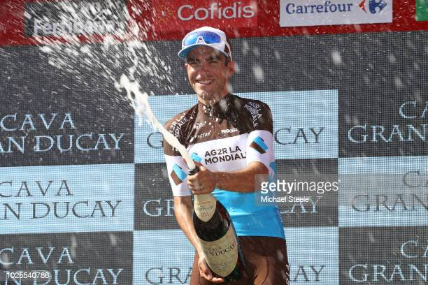 Podium / Tony Gallopin of France and Team AG2R La Mondiale / Celebration / Champagne / during the 73rd Tour of Spain 2018, Stage 7 a 185,7km stage...