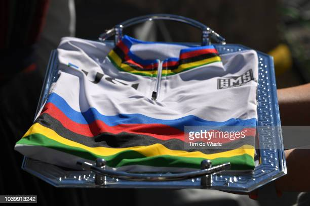 Podium / UCI World Champion Jersey / Detail view / during the Men Juniors Individual Time Trial a 278km race from Wattens to Innsbruck 582m at the...