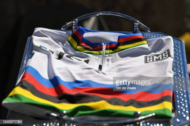 Podium / UCI World Champion Jersey / Detail view / during the Men Juniors Individual Time Trial a 27,8km race from Wattens to Innsbruck 582m at the...