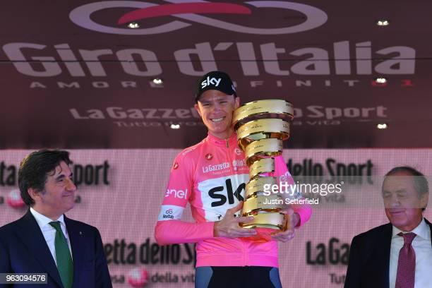 Podium / Urbano Cairo of Italy RCS President / Christopher Froome of Great Britain Pink Leader Jersey / Celebration / Trofeo Senza Fine / Mauro Vegni...