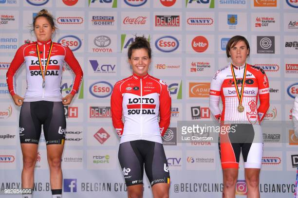 Podium / Valerie Demey of Belgium and Lotto Soudal Ladies Silver Medal / Annelies Dom of Belgium and Lotto Soudal Ladies Gold Medal / Sanne Cant of...