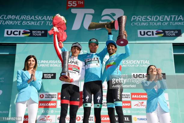 Podium / Valerio Conti of Italy and UAE - Team Emirates / Felix Grobschartner of Austria and Team Bora-Hansgrohe Blue Leader Jersey / Merhawi Kudus...