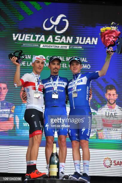 Podium / Valerio Conti of Italy and UAE Team Emirates / Julian Alaphilippe of France and Deceuninck - Quick-Step Team / Remco Evenepoel of Belgium...