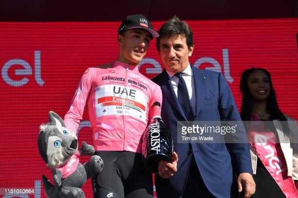 Podium / Valerio Conti of Italy and UAE - Team Emirates Pink Leader Jersey / Urbano Cairo of Italy RCS President and Torino Football Club President /...