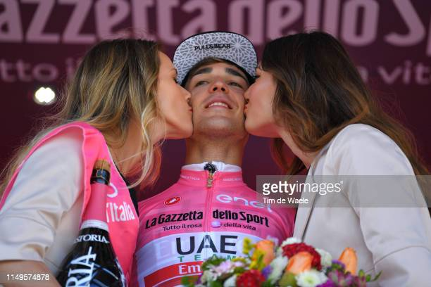 Podium / Valerio Conti of Italy and UAE - Team Emirates Pink Leader Jersey / Celebration / Miss / Hostess / Champagne / during the 102nd Giro...