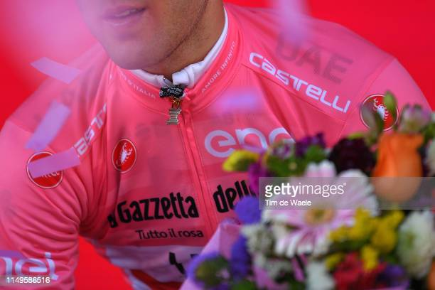 Podium / Valerio Conti of Italy and UAE - Team Emirates Pink Leader Jersey / Celebration / Trofeo Senza Fine / Trophy / Detail view / during the...
