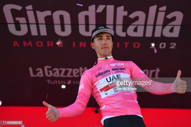 Podium / Valerio Conti of Italy and UAE - Team Emirates Pink Leader Jersey / Celebration / during the 102nd Giro d'Italia 2019, Stage 6 a 238km stage...