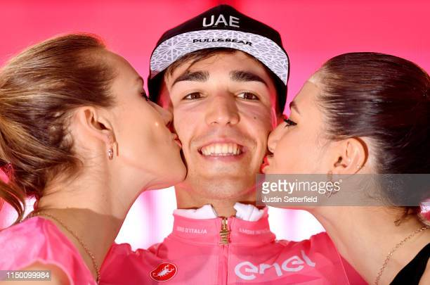 Podium / Valerio Conti of Italy and UAE - Team Emirates Pink Leader Jersey / Celebration / Miss / Hostess / Kiss / during the 102nd Giro d'Italia...