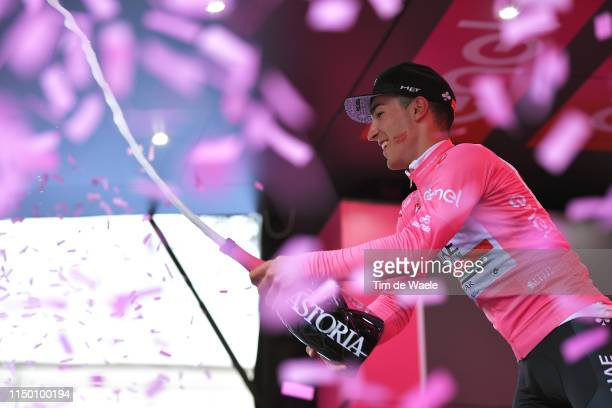 Podium / Valerio Conti of Italy and UAE - Team Emirates Pink Leader Jersey / Celebration / Champagne / Kiss / during the 102nd Giro d'Italia 2019,...