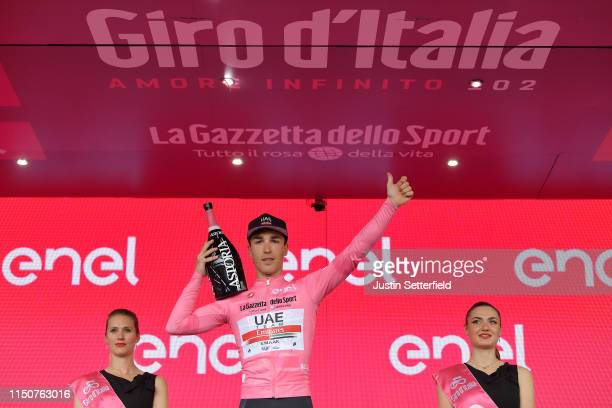 Podium / Valerio Conti of Italy and UAE - Team Emirates Pink Leader Jersey / Celebration / Champagne / Miss / Hostess / during the 102nd Giro...
