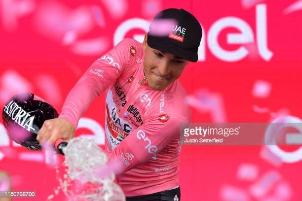 Podium / Valerio Conti of Italy and UAE - Team Emirates Pink Leader Jersey / Celebration / Champagne / during the 102nd Giro d'Italia 2019, Stage 10...