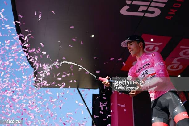 Podium / Valerio Conti of Italy and UAE - Team Emirates Pink Leader Jersey / Celebration / Champagne / during the 102nd Giro d'Italia 2019, Stage 11...
