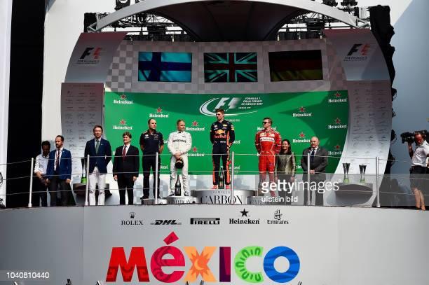 Podium Valtteri Bottas Mercedes Grand Prix Max Verstappen Red Bull Racing Kimi Raiikkoenen Scuderia Ferrari formula 1 GP Mexiko Mexiko Stadt