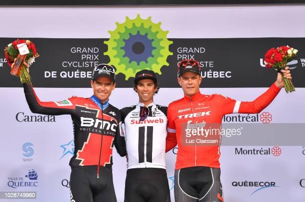 Podium / Van Avermaet of Belgium and BMC Racing Team / Michael Matthews of Australia and Team Sunweb / Jasper Stuyven of Belgium and Team Trek...