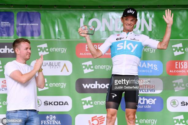 Podium / Vasil Kiryienka of Belarus and Team Sky Best Combative Rider / Celebration / during the 15th Tour of Britain 2018, Stage 8 a 77km stage from...