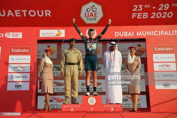 Podium / Veljko Stojnic of Serbia and Team Vini Zabu' KTM Black Intermediate Sprint Jersey / Celebration / Hostess / Misses / during the 6th UAE Tour...