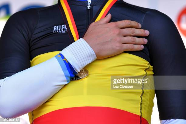 Podium / Victor Campenaerts of Belgium and Team Lotto Soudal European Champion Jersey Gold Medal / Celebration / Illustration / during the 119th...