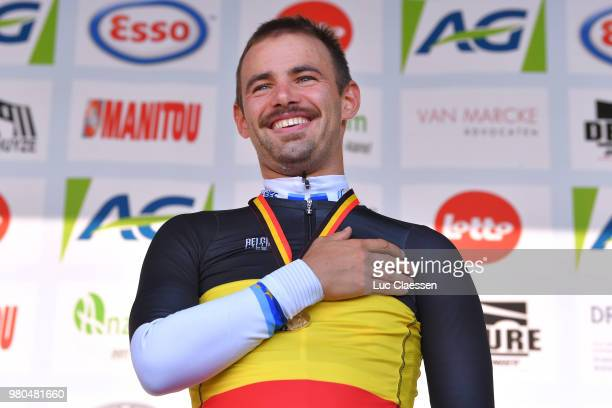 Podium / Victor Campenaerts of Belgium and Team Lotto Soudal Gold Medal / Celebration / during the 119th Belgian Road Championship 2018 a 432km...