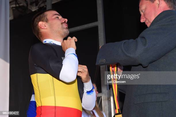 Podium / Victor Campenaerts of Belgium and Team Lotto Soudal Gold Medal / Celebration / during the 119th Belgian Road Championship 2018 a 43,2km...