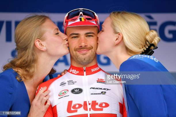 Podium / Victor Campenaerts of Belgium and Team Lotto Soudal / Celebration / Miss / Hostess / Kiss / during the 89th Baloise Belgium Tour 2019, Stage...