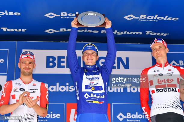 Podium / Victor Campenaerts of Belgium and Team Lotto Soudal / Remco Evenepoel of Belgium and Team Deceuninck-Quick Step Blue Leader Jersey / Tim...