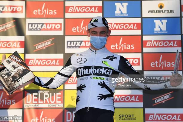 Podium / Victor Campenaerts of Belgium and Team Qhubeka Assos Most Combative Rider Celebration, during the 53rd Grand Prix Le Samyn 2021, Men's Elite...